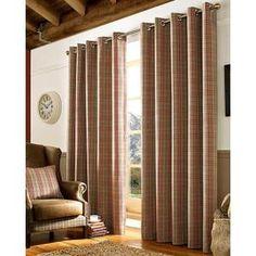 Paire de rideaux à oeillets motifs écossais - Rouge 167x228 cm - Achat…