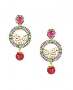 Zircon Hoop Earrings with Red Bead Drop
