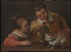 Annibale Carracci (Italian, 1560–1609). Two Children Teasing a Cat. The Metropolitan Museum of Art, New York. Purchase, Gwynne Andrews Fund, and Bequests of Collis P. Huntington and Ogden Mills, by exchange, 1994 (1994.142) #cats