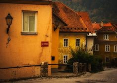 Slovenia in the Fall Sejmisce Old town rustic autumn by shashamane, $11.99