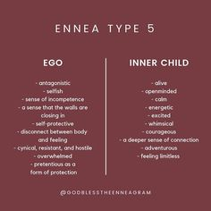 Here's what your Type looks like when its personality patterns are Ego-based and when they are based on your inner child -- or who you have… Type 5 Enneagram, Mbti Personality, Personality Characteristics, E Type, Intj, Inner Child, Self Help, Life Quotes, Qoutes