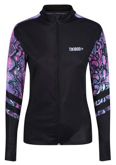 Complementing our gorgeously wild Petrol Python leggings and shorts, this unique jacket is perfect for autumn and winter training when you need a little extra warmth. The powerful purple and turquoise snakeskin detail on the sleeves and upper back contrasts beautifully with the back base.  Featuring a full-length zip with chin guard and soft collar, this workout jacket is comfortable and practical for running, CrossFit or winter walks. Winter Walk, Running Jacket, Skin Tight, Workout Tops, Adidas Jacket, Turquoise, Shorts, Python, Walks