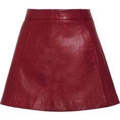 GANNILeather Mini Skirt ($230) ❤ liked on Polyvore featuring skirts, mini skirts, claret, short skirts, leather miniskirt, short red skirt, red skirt and ganni