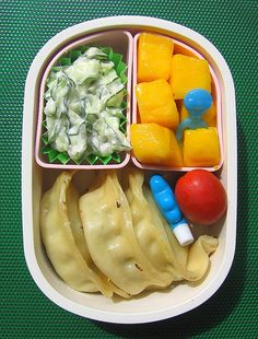 Bento Lunch - cucumber & cream cheese salad, pot stickers etc. - recipie for the salad