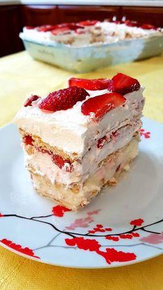 Γλυκό ψυγείου με φράουλες !!!! ~ ΜΑΓΕΙΡΙΚΗ ΚΑΙ ΣΥΝΤΑΓΕΣ 2 Greek Desserts, Greek Recipes, No Bake Desserts, Greek Cake, Cake Recipes, Dessert Recipes, Sweets Cake, Everyday Food, No Bake Cake