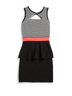 Sally Miller Girl's Striped Peek-A-Boo Peplum Dress Romper With Skirt, Dress Skirt, Peplum Dresses, Couture Tops, Couture Dresses, Teen Fashionista, Sally Miller, Girls Black Dress, Casual Dresses