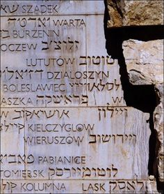 The words that appear in Hebrew characters are the names of towns as they are known to the Jewish community. The Latin versions were the names used by non-Jews.