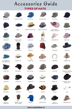 Accessories Guide_Types of Hats Fashion Terminology, Fashion Infographic, Vetements Clothing, Fashion Words, Types Of Fashion Styles, Fashion Style Guide, Types Of Style, Types Of Dresses Styles, Fashion Dictionary