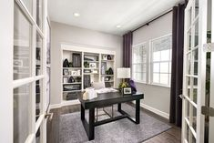 Thoughtfully designed study | Avril model home | Aurora, Colorado | Richmond American Homes Industrial Office Design, Modern Office Design, Office Interior Design, Office Interiors, Richmond American Homes, Commercial Office Design, Solid Wood Desk, Model Homes, Home Buying