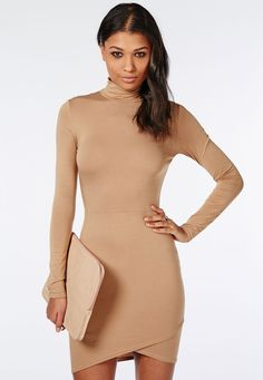 High necks are totally hot right now and this camel bodycon dress is a staple item for your wardrobe. With jersey fabric and asymmetric wrap finish to the hem this long sleeved beauty is the perfect throw on and go to give you a killer silh. Buy Dress, Peplum Dress, Wrap Dress, Bodycon Dress, Day Dresses, Nice Dresses, Sleeve Dresses, Dresses Online