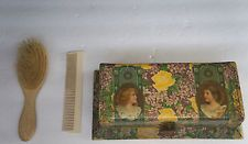 Antique Victorian Celluloid Dresser Yellow Rose Two Girls Box With Brush & Comb