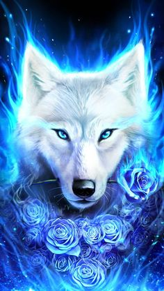 White wolf with rose