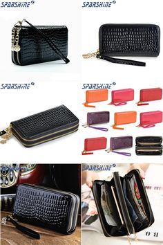 [Visit to Buy] 2017 High Quality Black Purse Women Leather Purses Wallets Luxury Brand Wallet Double Zipper Day Clutch Coin Card Bag #Advertisement