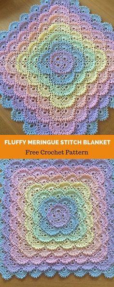 Crochet Flowers Design Crochet Fluffy Meringue Blanket - Acess Pattern in PDF Crochet Flower Patterns, Afghan Crochet Patterns, Crochet Designs, Crochet Flowers, Crochet Stitches, Crochet Afghans, Crochet Blankets, Baby Blankets, Baby Patterns