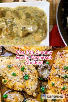 Chicken breasts cooked in a creamy garlic parmesan cream sauce. This quick and flavorful one skillet dish is great on with pasta or a side of veggies! Garlic Parmesan Chicken, Parmesan Cream Sauce, Evening Meals, Chicken Breasts, Eating Plans, Food Items, Vegetarian Recipes, Skillet, Veggies