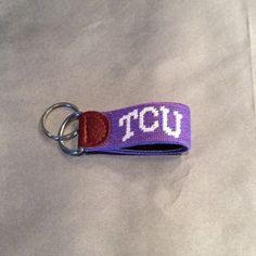 Smathers & Branson Collegiate Keychain TCU needlepoint key fob Smathers & Branson Accessories Key & Card Holders