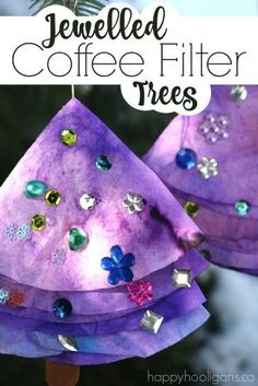 Coffee filter, jewelled trees are fun for all ages to make! The process is fascinating and allows kids to observe and learn about water absorption.