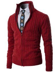 H2H Mens Casual Knitted Cardigan Zip-up with Twisted Pattern - Join The Klub