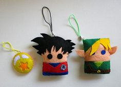 Bola de Drac, Son Goku i Link (Zelda) Felt Crafts Diy, Felted Wool Crafts, Cute Crafts, Yarn Crafts, Homemade Dolls, Do It Yourself Inspiration, Beaded Banners, Kawaii Diy, Ornament Crafts