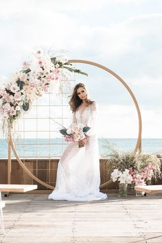 Circular Floral Arch for a Waterfront Wedding Ceremony wedding arch Wedding Ceremony Ideas, Wedding Stage, Ceremony Backdrop, Wedding Themes, Wedding Designs, Wedding Decorations, Beach Ceremony, Backdrop Wedding, Wedding Dresses