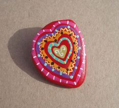 Handpainted Multicolored Heart on Waterworn stone by geminiriverrocks,  #hvnyteam