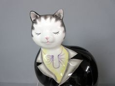 New Black Suit Cat Shaped Ceramic Collectable Coin Bank Cats | eBay