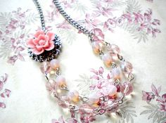 Bridesmaid Necklace Pink Wedding Jewelry Flower by elinacreations