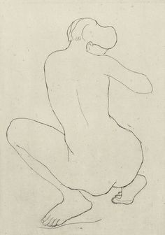 """amare-habeo: """" Aristide Maillol (French, Crouching Female Nude, 1926 Pencil on paper, x cm """" Back Drawing, Life Drawing, Post Impressionism, Impressionist, Gesture Drawing, Chiaroscuro, French Art, Monochrome, Sculptures"""