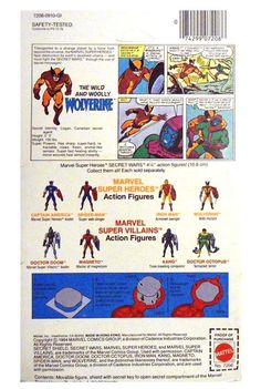 """themarvelproject: """" Marvel Super Heroes Secret Wars Wolverine action figure (Mattel packaging and original art. Marvel Secret Wars, Wolverine, Action Figures, Original Art, Baseball Cards, Superhero, Types Of Spiders, Expressionism, Toys"""