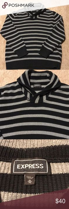 Men's Express Sweater Worn once!! Men's Express Black and gray stripped sweater. Size XL Express Sweaters
