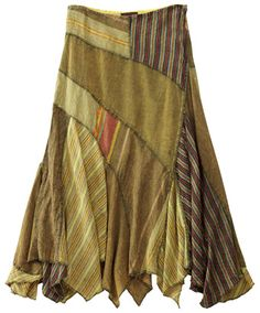 Analagous colors, asymmetric patchwork, stripes combo...I love it! This one's new, but it has the altered, upcycled look.