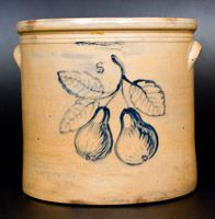 Fine WM. A. MACQUOID, Manhattan 5 Gal. Stoneware Crock with Pears Decoration