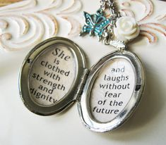 Inspirtional jewelry necklace for women quote locket by akinto, $25.00