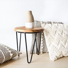 Our handcrafted Cali Table with La Nube & La Ola pillows ✨ NØA + GINGER Cali, Stool, Mexico, Pillows, Furniture, Collection, Home Decor, Clouds, Decoration Home