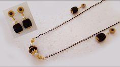 Silk Thread black beeds Necklace | Mangalsutra | Black beads chain Tutorial | DIY