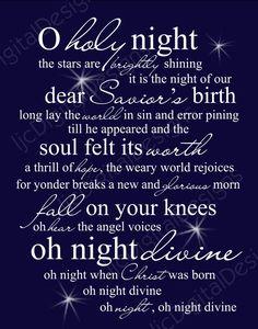 O Holy Night Christmas Word Art Lyrics Printable Digital Typography Decoration 11x14 and 8x10 via Etsy
