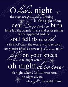 O Holy Night Christmas Word Art Lyrics Printable Digital Typography Decoration 11x14 and 8x10 via Etsy