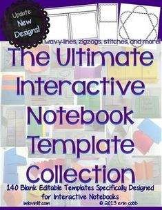 These blank interactive notebook templates are specially designed to work in your interactive notebooks. These templates also work well in lapbook. Interactive Student Notebooks, Math Notebooks, Maths Journals, Interactive Learning, Literary Elements, Reading Lessons, Teaching Resources, Teaching Materials, Teaching Ideas