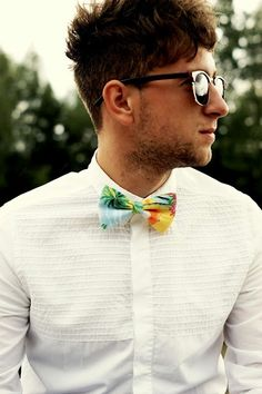 bow tie again... but I like the pattern on the plain white shirt. I think that would look really good on you.