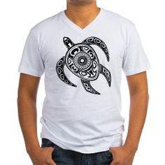 Black Hawaiian Turtle-2 Men's V-Neck T-Shirt> Black Hawaiian Turtle> Under The Sea