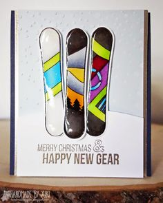 Handmade by Yuki: Snowboarding Card featuring Simon Says Stamp