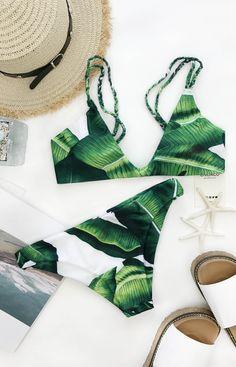 $19.99 Chicnico Green Leaf Floral Print Bikini Set