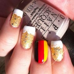 Oktoberfest Nails.  It took me a minute to figure out what the gold nails were supposed to be :P