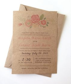 Rustic Floral Wedding Invitations by LemonInvitations on Etsy, $1.65