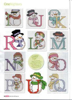 snowmen alphabet I-Q 123 Cross Stitch, Cross Stitch Letters, Cross Stitch Needles, Cross Stitch Charts, Cross Stitch Designs, Cross Stitching, Cross Stitch Embroidery, Christmas Alphabet, Crochet Cross