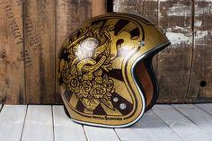 - Helmet Designs - Sacred Heart flip side to the Virgin Mary helmet. I think I'm ready to play with. Motorcycle Helmet Design, Cafe Racer Helmet, Women Motorcycle, Cool Motorcycles, Vintage Motorcycles, New Helmet, Helmet Head, Vintage Helmet, Moto Cafe