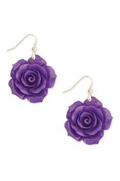 Resin Rose Earrings in Purple - Beyond the Rack