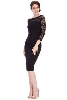 Linda Lace Pencil Dress in Black Fitted Midi Dress, Lace Dress, Bodycon Dress, Perfect Curves, Glamorous Dresses, Vintage Inspired Dresses, Retro Dress, Pencil Dress, Lace Sleeves