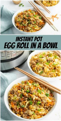 Instant Pot Egg Roll in a Bowl recipe from RecipeGirl.com #instant #pot #instantpot #egg #roll #eggroll #bowl #recipe #RecipeGirl Easy Smoothie Recipes, Fun Easy Recipes, Healthy Eating Recipes, Healthy Cooking, Easy Meals, Healthy Smoothies, Yummy Recipes, Chef Recipes, Crockpot Recipes