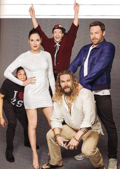 Ray Fisher, Gal Gadot, Ezra Miller, Jason Momoa and Ben Affleck of Justice League (2017) photographed by Matthias Clamer for Entertainment Weekly